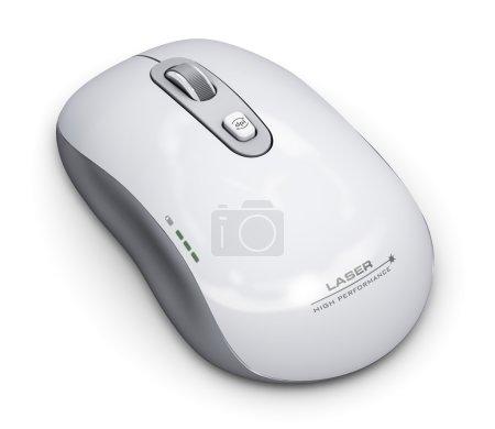 Photo pour Technologie PC abstraite créative et concept numérique de communication d'affaires : souris d'ordinateur laser sans fil avec molette isolée sur fond blanc - image libre de droit