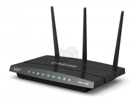Photo for Creative abstract computer networking technology and PC web telecommunication business concept: modern black broadband internet router switch modem isolated on white background - Royalty Free Image