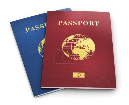 Photo pour Groupe de passeports d'identité biométrique couleur ou d'identification personnelle isolé sur fond blanc - image libre de droit