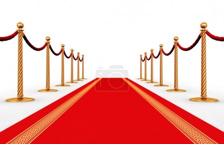 Photo for Creative abstract award ceremony and success in business concept: red carpet and golden chain barriers isolated on white background - Royalty Free Image