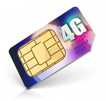 Photo for Creative abstract mobile telecommunication, wireless technology and mobility business communication internet concept: red SIM card for mobile phone or smartphone with 4G LTE connection capability isolated on white background - Royalty Free Image