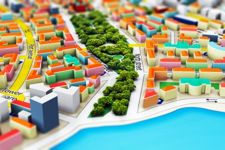 Photo pour Creative abstract GPS satellite navigation, travel, tourism and location route planning business concept: macro view of miniature color city map with 3D buildings with selective focus effect - image libre de droit