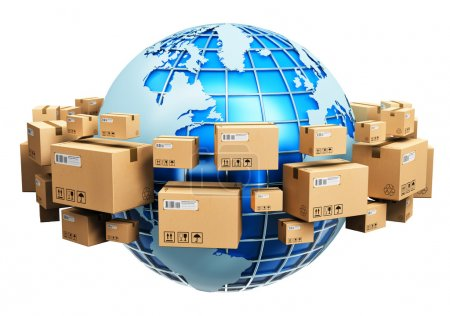 Photo for Creative abstract global logistics, shipping and worldwide delivery business concept: blue Earth planet globe surrounded by heap of stacked corrugated cardboard boxes with parcel goods isolated on white background - Royalty Free Image