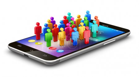 Photo for Creative abstract internet social media networking and modern global computer network communication web technology business concept: group of color human people figures on black glossy touchscreen smartphone with colorful application icons and app bu - Royalty Free Image