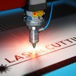 Laser cutting metal industry concept: macro view o...