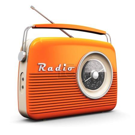 Vintage radio receiver isolated on white background