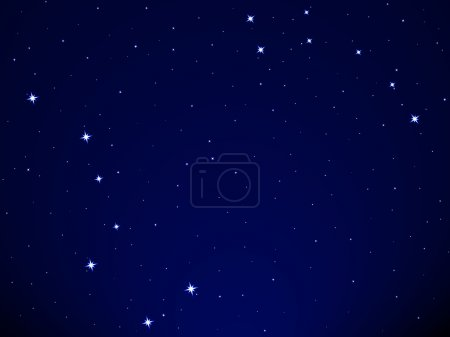 Big Dipper and Little Dipper constellation on starry sky background