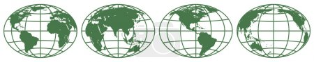 Illustration for Illustration of the various globes hemisphere.  vector illustration - Royalty Free Image