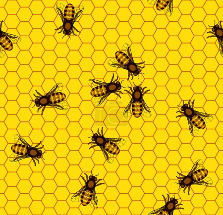 Illustration for Seamless pattern of the bee on honeycombs background - Royalty Free Image