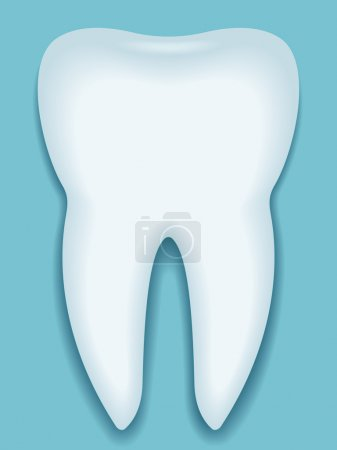 Tooth icon against blue background