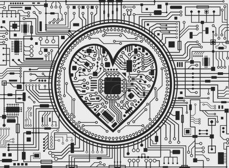 Valentinstag schwarz-weiß IT-Hintergrund mit Herz