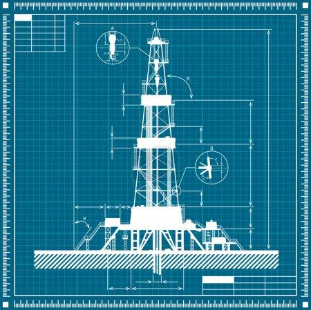 Illustration pour Schéma directeur de silhouette de plate-forme pétrolière. Illustration vectorielle détaillée . - image libre de droit