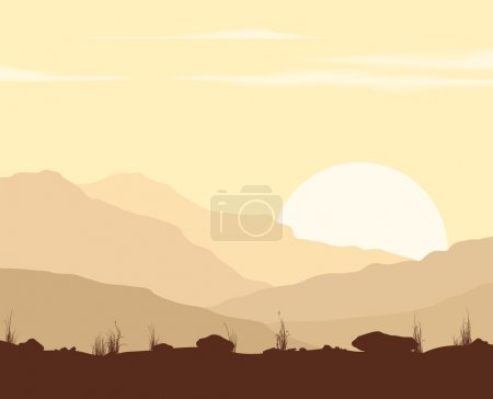 Landscape with sunset in mountains.