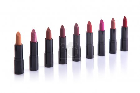 Row of trendy lipsticks