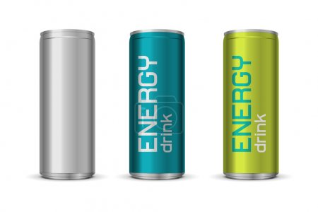 Illustration for Vector illustration of energy drink cans in different colors, isolated on white background - Royalty Free Image