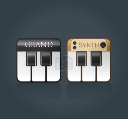 Piano icons for music software