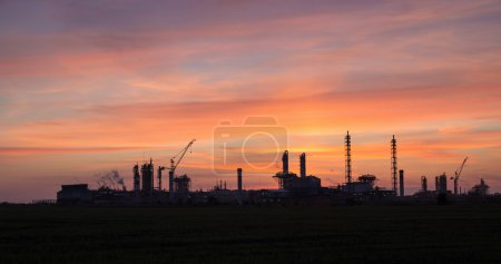 Photo for Panoramic view of the industrial landscape at sunset - Royalty Free Image