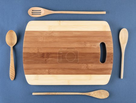 Cutting board and wooden spoons