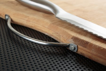 Kitchen cutting board and knife