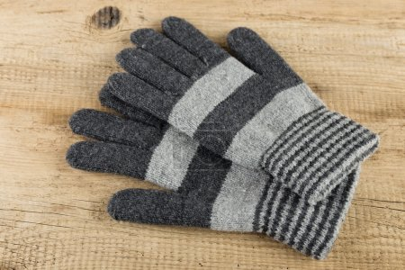 grey striped gloves