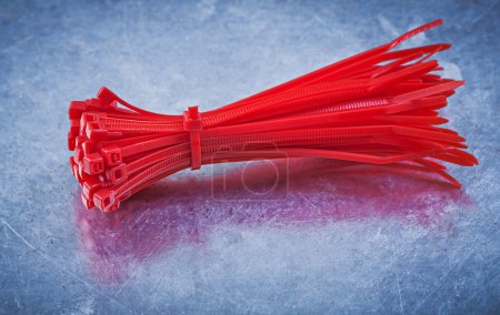 Red plastic self-locking cable ties