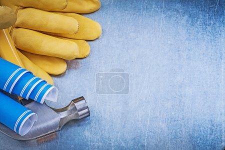 Protective gloves, blueprints