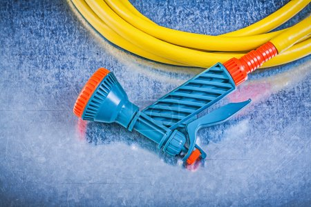 Garden hose with water spray nozzle