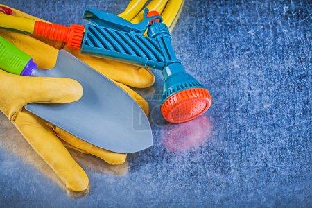 Garden hose, water sprayer and gloves