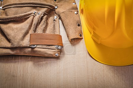 Leather tool belt and hard hat