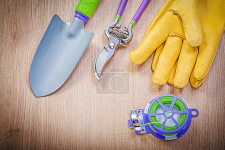 Protective gloves, spade and pruning shears