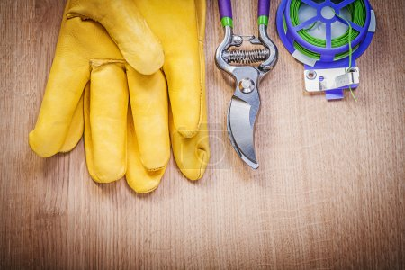 Protective gloves and garden pruner
