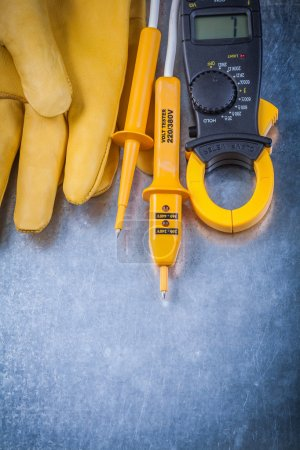 Clamp meter, electrical tester and gloves