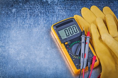 Digital electrical tester and protective gloves