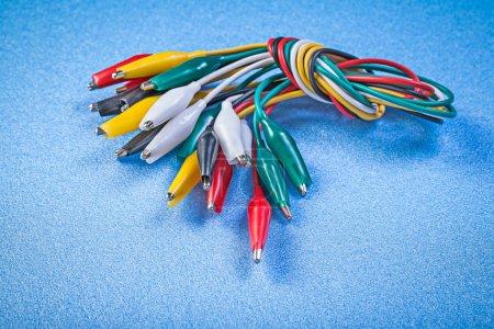 Assortment of multicolored crocodile clip cables