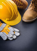 Gloves yellow helmet working boots