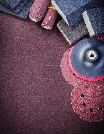 Set of abrasive tools on polishing sheet vertical view