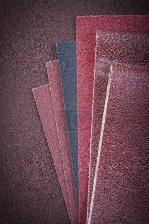 Set of sandpaper on polishing sheet