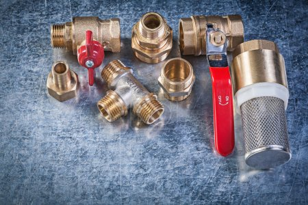 Brass lever ball valve pipe connectors strainer filter on metall