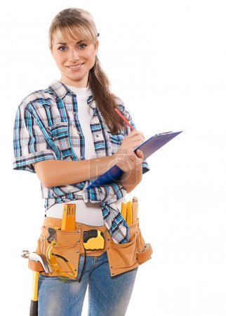 Caucasian female worker