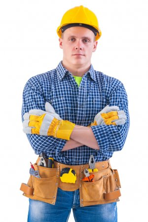 Man wearing working clothes with tools