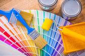 """Постер, картина, фотообои """"Цветовая палитра на деревянный стол"""""""