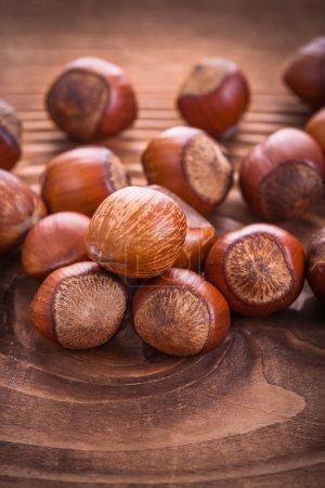 Small stack of hazelnuts