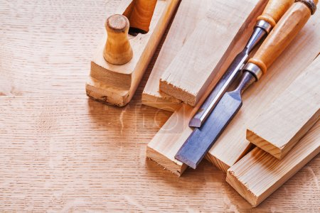 Chisels planks and  plane