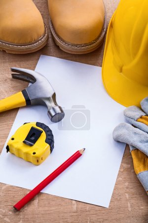 Set of working tools with blank paper