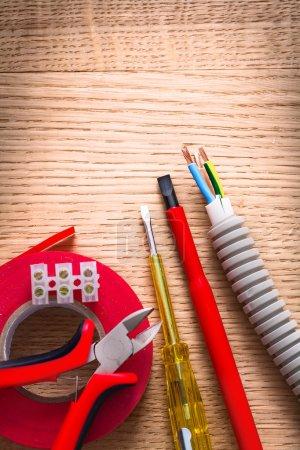 Nippers, insulating tape, terminal blocks