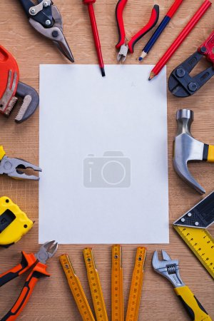 Set of tools with blank paper