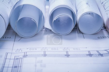 Photo for Very close up view on rolled construction  blueprints - Royalty Free Image