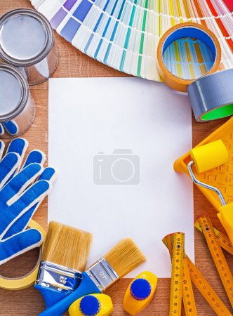 Set of tools for painting on paper