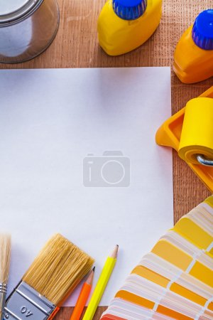 Fan pencils paint roller tray brushes