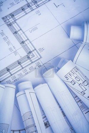 Rolled construction blueprints